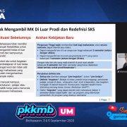 Situasi sebelumnya dan arahan Kampus Merdeka yang dipaparkan Wakil Rektor I Yusuf Wibisono SE MTI pada PKKMB daring, Kamis (3/9). Foto: YouTube