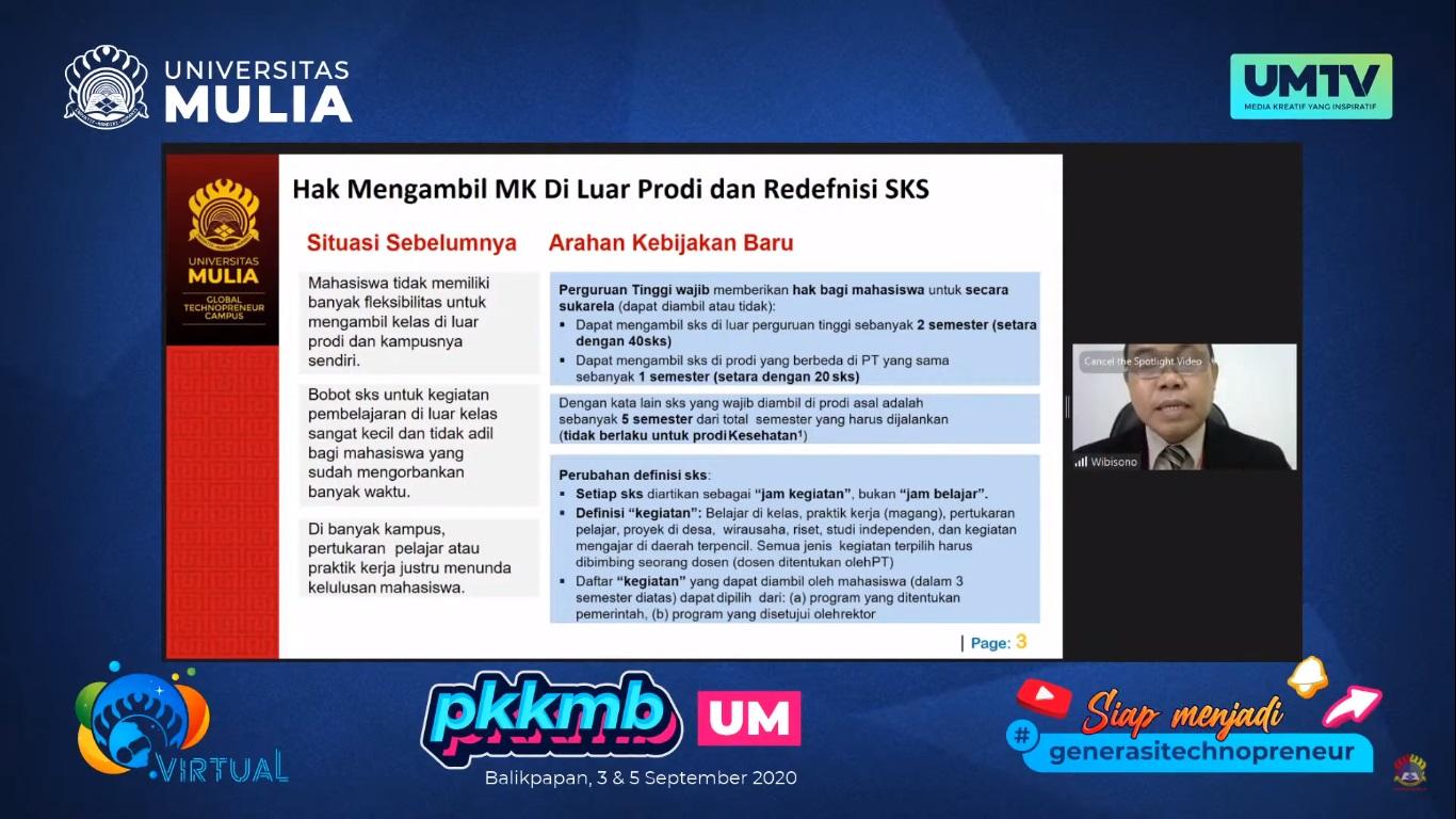 Situasi sebelumnya dan arahan penerapan Kampus Merdeka yang dipaparkan Wakil Rektor I Yusuf Wibisono SE MTI pada PKKMB daring, Kamis (3/9). Foto: YouTube