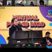 Rektor Dr. Agung Sakti Pribadi, S.H., M.H. saat memberikan sambutan dalam PKKMB 2020 di Studio White Campus Universitas Mulia, Kamis (3/9). Foto: YouTube