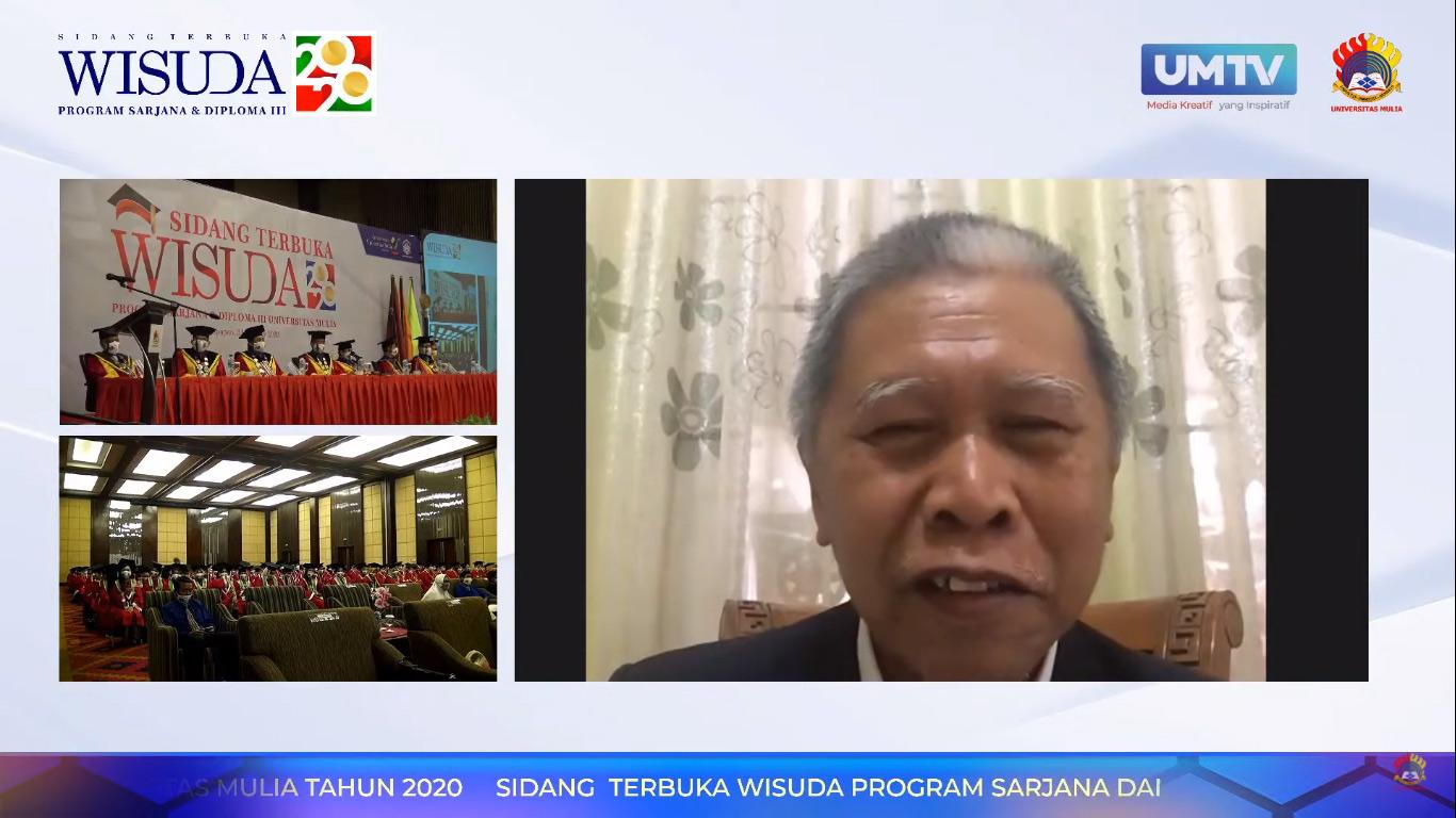 Prof. Dr. Ir. H. Udiansyah, M.S. Kepala LLDIKTI XI Kalimantan saat memberikan sambutan secara daring dalam Sidang Terbuka dan Wisuda Sarjana dan Diploma ke-II Universitas Mulia, Sabtu (31/10). Foto: YouTube
