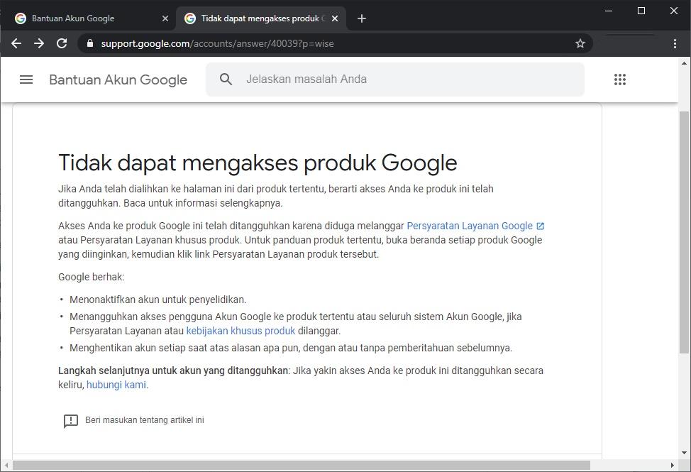 Google mengalihkan pengguna mengakses layanan yang ditangguhkan Google pada informasi ini. Foto: Google
