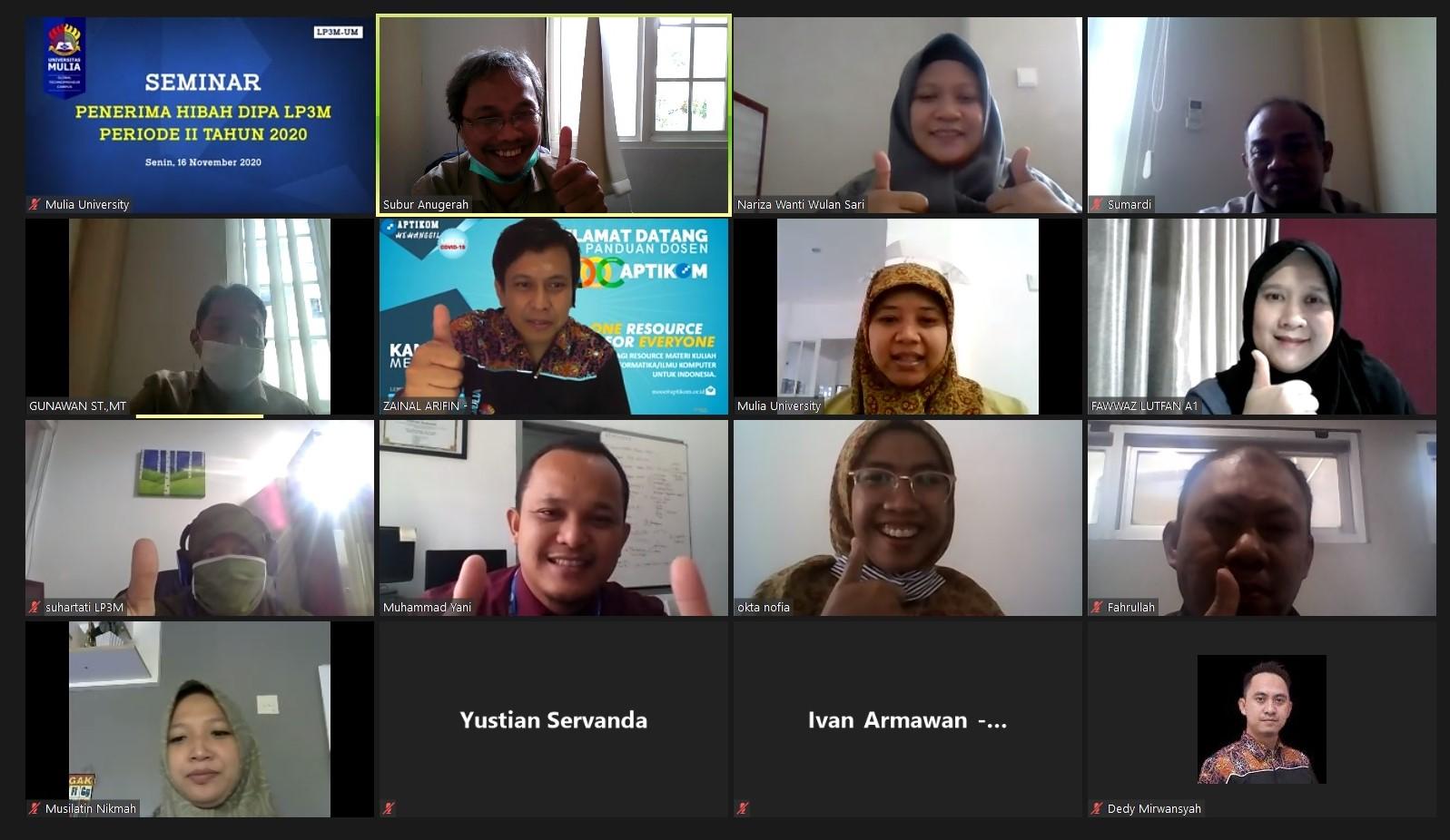 Seminar Proposal Penelitian dan Pengabdian pada Masyarakat Tahap ke-II DIPA LP3M Universitas Mulia yang digelar daring Zoom, Senin (16/11). Foto: Tangkapan layar