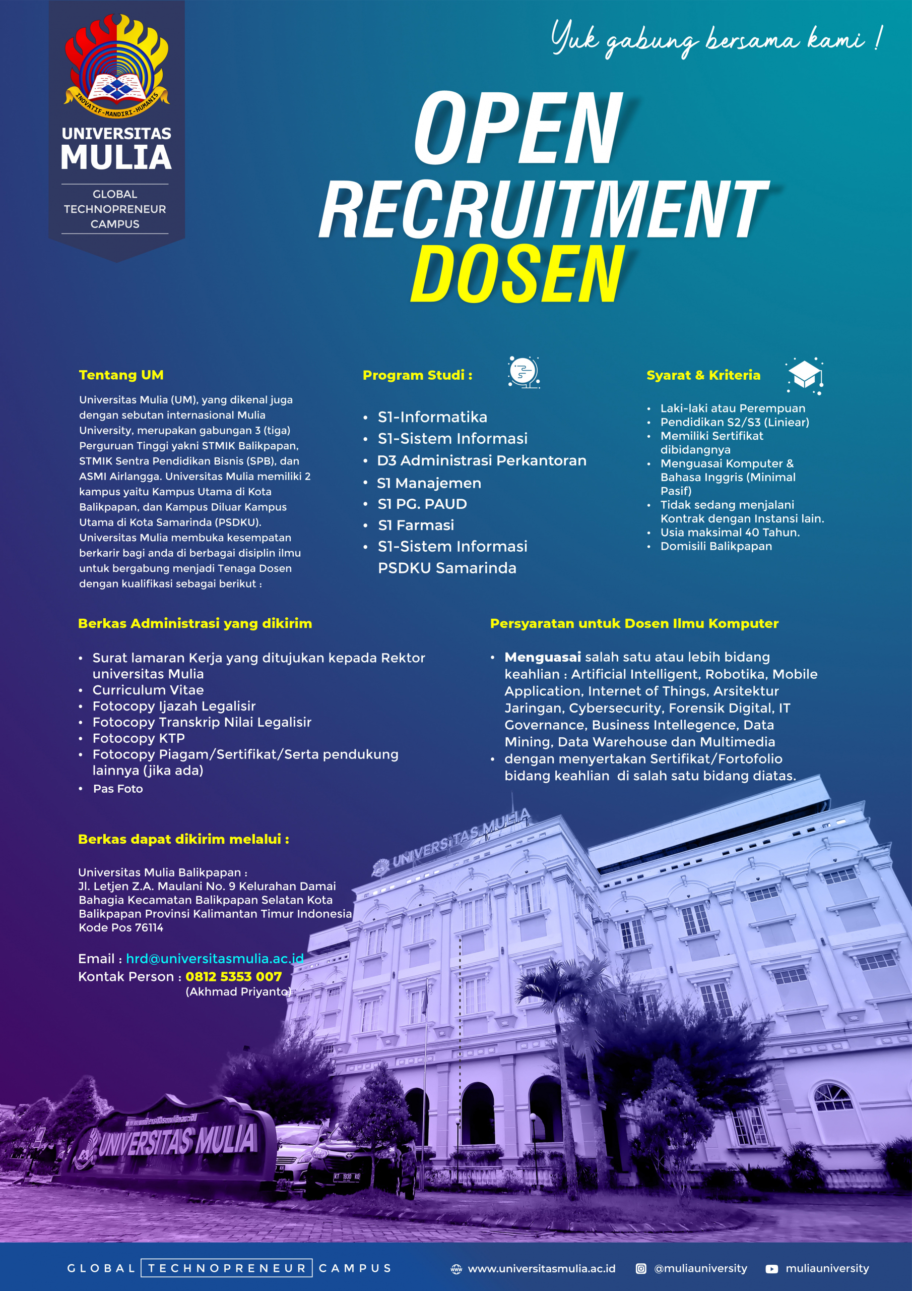open recruitment dosen 2021