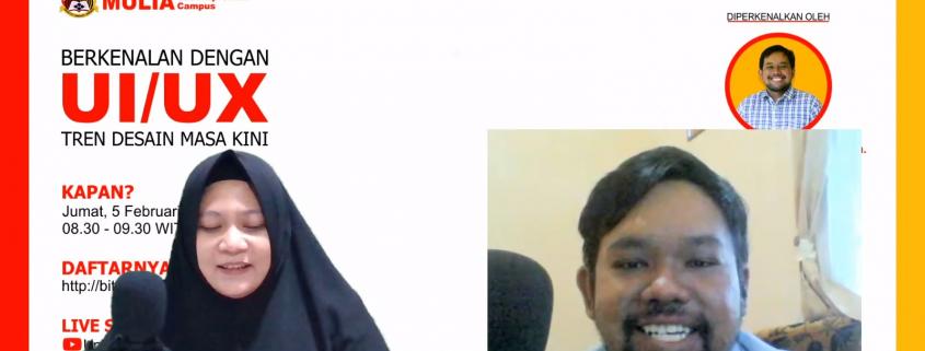 Ibu Nariza sebagai moderator webinar dan Bapak Bambang sebagai narasumber Webinar UI UX. Sumber : tangkapan layar