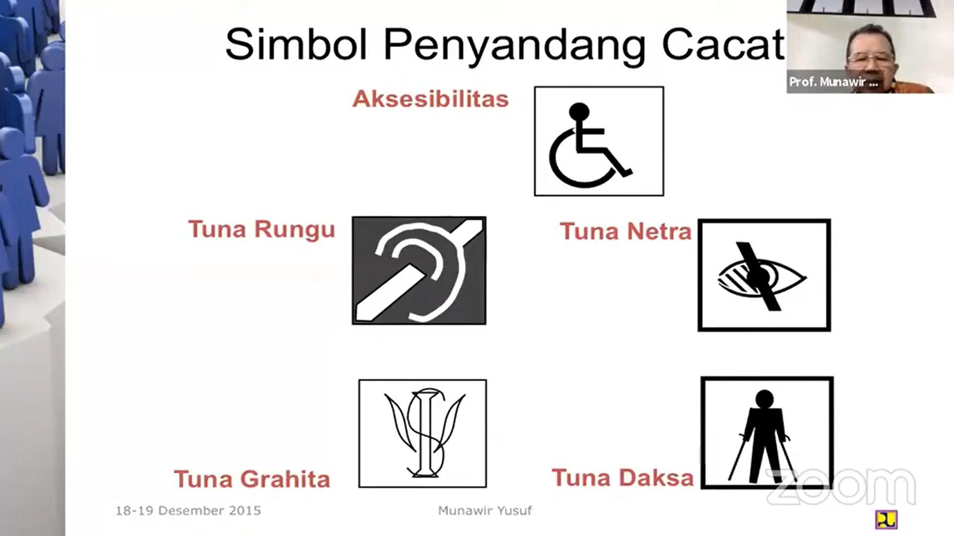 Paparan Prof. Munawir terkait Simbol Penyandang Cacat. Foto: Tangkapan layar presentasi