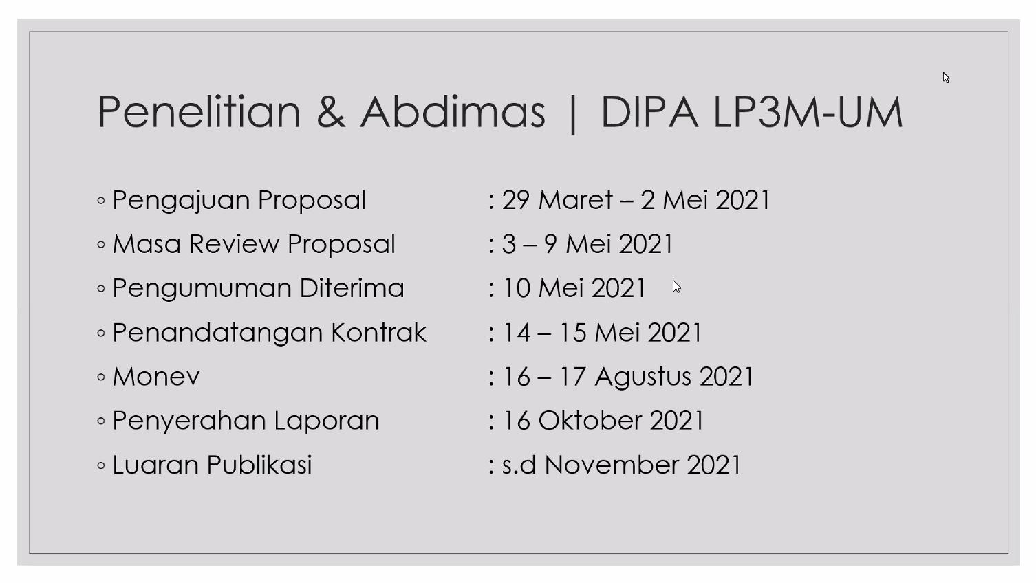 Tanggal penting Penelitian dan Abdimas Tahun 2021. Sumber: LP3M