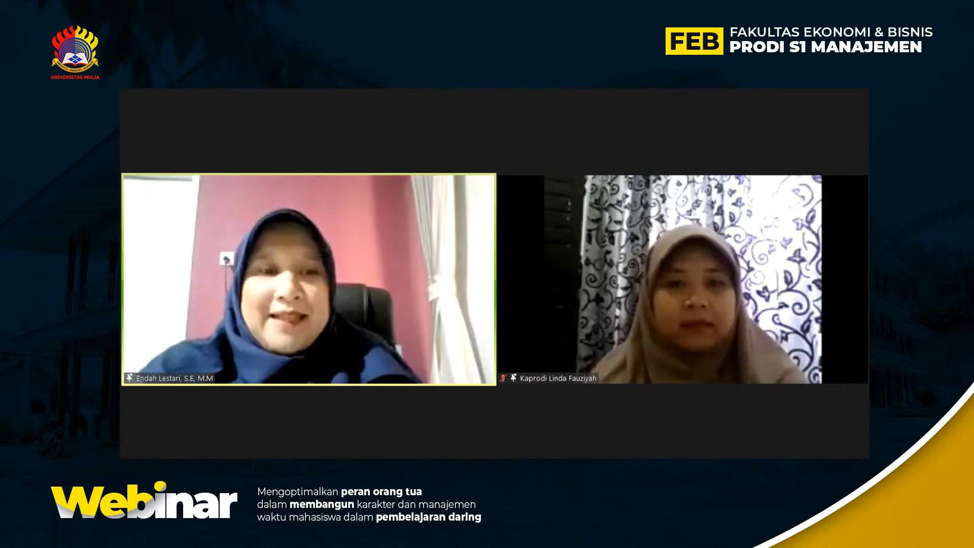 Endah Lestari, S.E., M.M. dan Linda Fauziyah Aryani, S.Pd., M.Pd. saat webinar, Sabtu (13/3). Foto: tangkapan layar