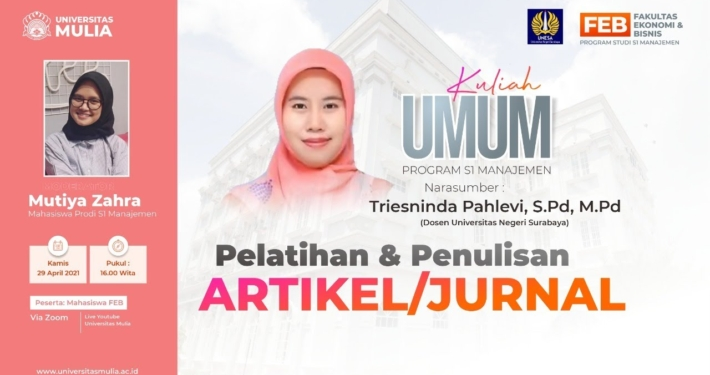 Kuliah Umum Pelatihan dan Penulisan Artikel Jurnal oleh Triesninda Pahlevi, S.Pd., M.Pd. dosen Universitas Negeri Surabaya, Kamis (29/4).