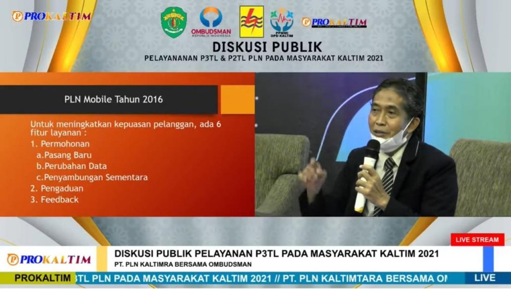 DR. Agung Sakti Pribadi saat menjadi salah satu narasumber perwakilan perguruan tinggi dalam Diskusi Publik Pelayanan P2TL PLN kepada Masyarakat Kaltim tahun 2021. Foto: Tangkapan layar