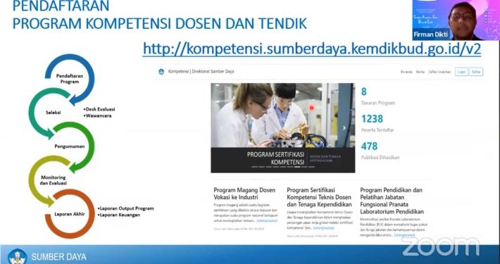 Pendaftaran Program Peningkatan Sertifikasi Komptenesi teknis Dosen dan tendik Kemendikbudristek. Foto: Screenshot