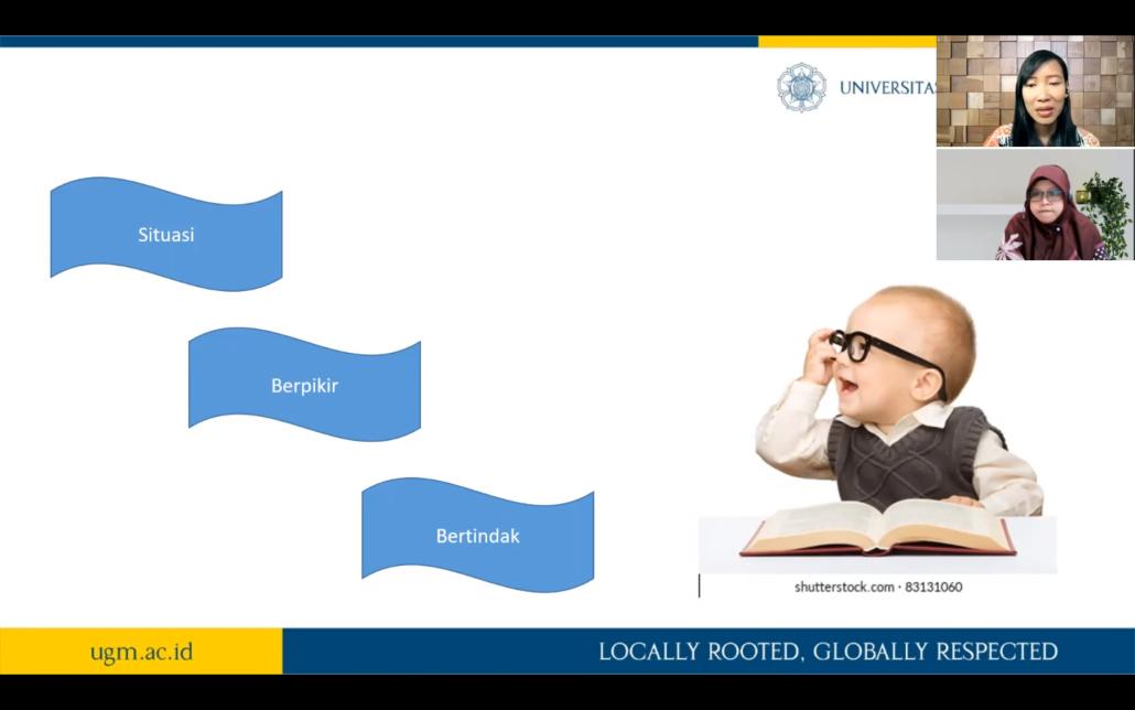 Memahami proses kecerdasan pada manusia untuk memahami Kecerdasan Artifisial. Dr. Dyah didampingi Isa Rosita, M.Cs. Sekretaris Prodi Informatika. Foto: Slide
