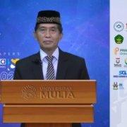 Rektor Universitas Mulia Dr Agung Sakti Pribadi SH MH saat memberikan sambutan ICSINTESA dan SEMINASTIKA 2021 secara virtual, Rabu (20/10). Foto: Tangkapan Layar
